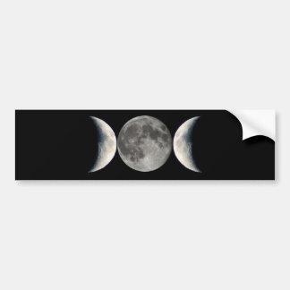 triple moon car bumper sticker