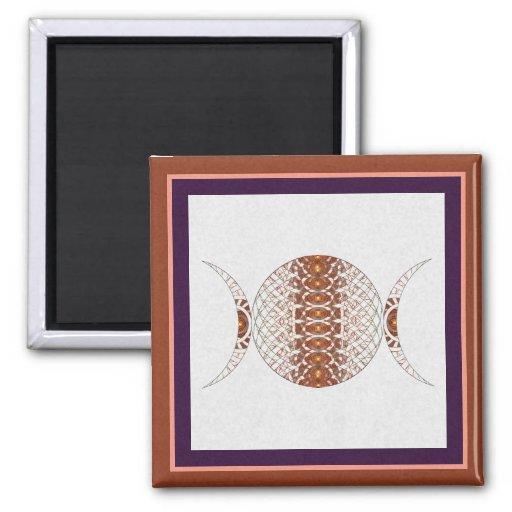 Triple Moon Fractal Art Fridge Magnet