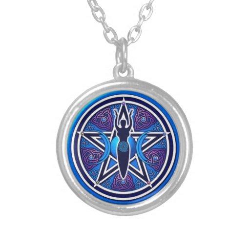 Triple Moon goddes Pentacle Custom Necklace