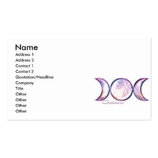 triple moon goddess iridescent pearl business card