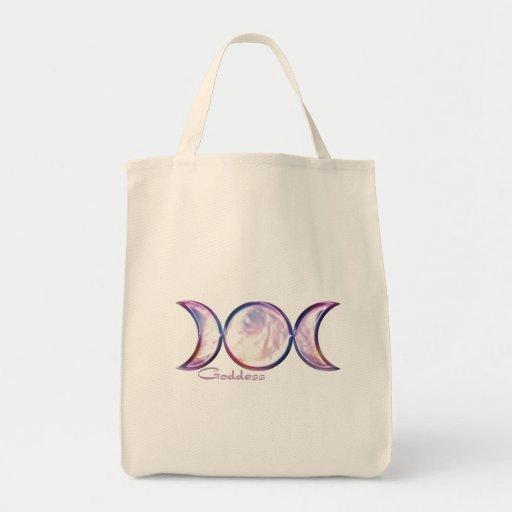 triple moon goddess iridescent pearl grocery tote bag