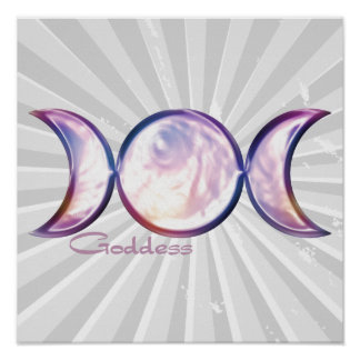triple moon goddess iridescent pearl poster
