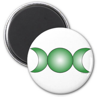 Triple Moon - green gradient 2 Inch Round Magnet
