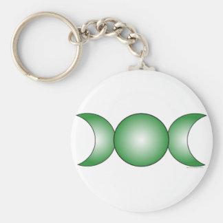 Triple Moon - green gradient Keychain