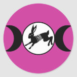 Triple Moon Hare Round Stickers
