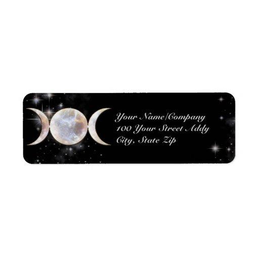 Triple Moon Moonstone Custom Return Address Labels
