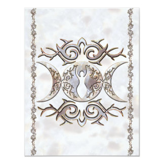 Triple Moon Moonstone Goddess Card