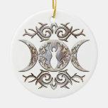 Triple Moon Moonstone Goddess Christmas Ornament