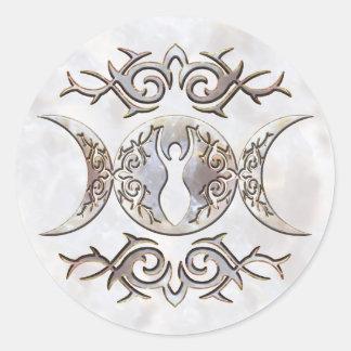 Triple Moon Moonstone Goddess Classic Round Sticker