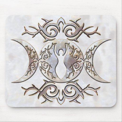 Triple Moon Moonstone Goddess Mouse Pad