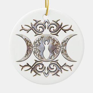 Triple Moon Moonstone Goddess Double-Sided Ceramic Round Christmas Ornament