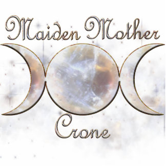 Triple Moon Moonstone, Maiden Mother Crone Statuette
