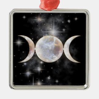 Triple Moon Moonstone Square Metal Christmas Ornament