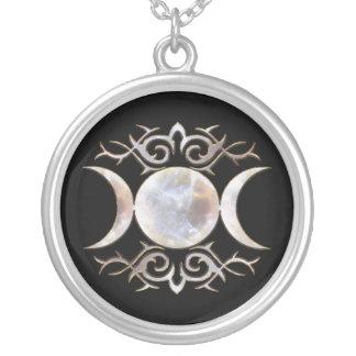 Triple Moon Moonstone Round Pendant Necklace