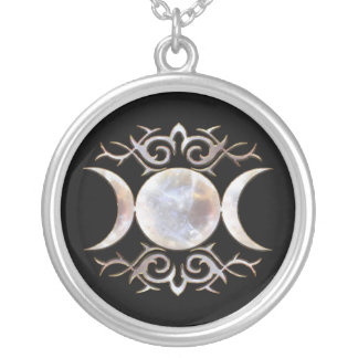 Triple Moon Moonstone Silver Plated Necklace