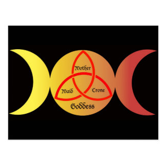 triple moon on black background with triquetra 2 postcard