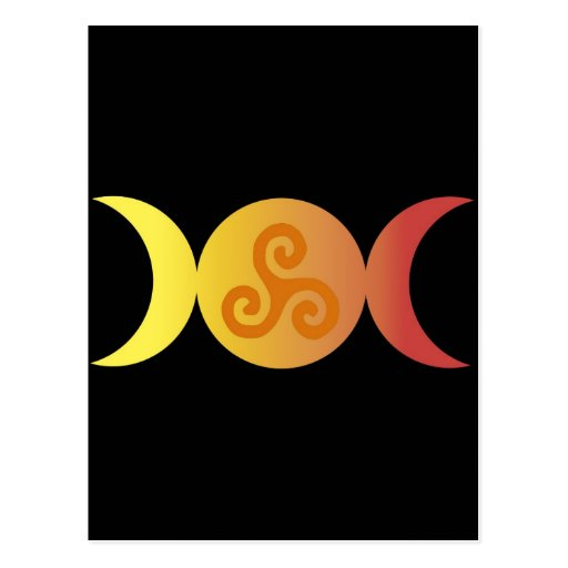 triple moon one triskell black bground post card