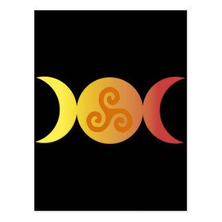 triple moon one triskell black bground postcard