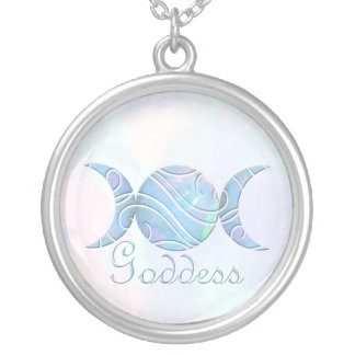 Triple Moon Opal Goddess Silver Plated Necklace