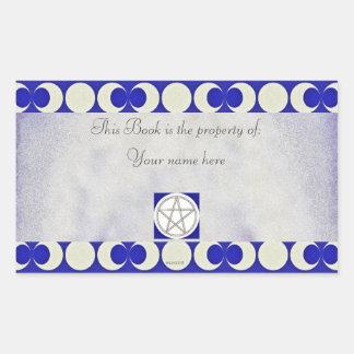 Triple Moon Pagan Pentacle Bookplate Rectangular Sticker