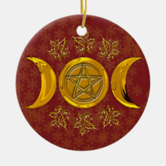 Triple Moon & Pentacle #3 Double-Sided Ceramic Round Christmas Ornament