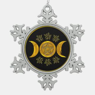 Triple Moon & Pentacle - Pewter Snowflake 1 Ornaments