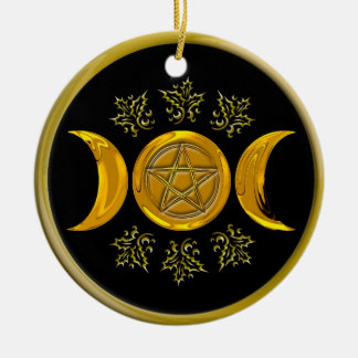 Triple Moon & Pentacle with Gold Frame Ceramic Ornament