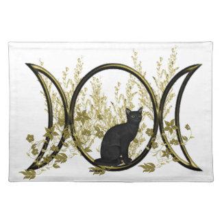Triple Moon Symbol - Black Cat Cloth Placemat