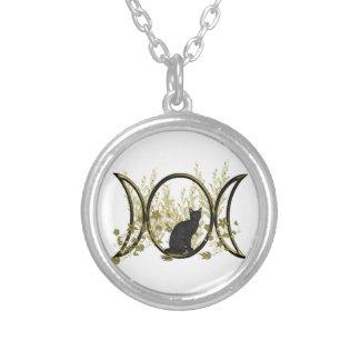 Triple Moon Symbol - Black Cat Round Pendant Necklace