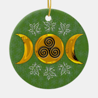 Triple Moon & Triple Spiral #10 Double-Sided Ceramic Round Christmas Ornament