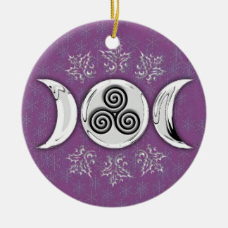 Triple Moon & Triple Spiral #12 Double-Sided Ceramic Round Christmas Ornament