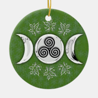 Triple Moon & Triple Spiral #14 Double-Sided Ceramic Round Christmas Ornament