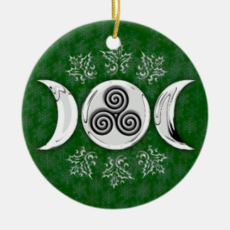 Triple Moon & Triple Spiral #17 Double-Sided Ceramic Round Christmas Ornament