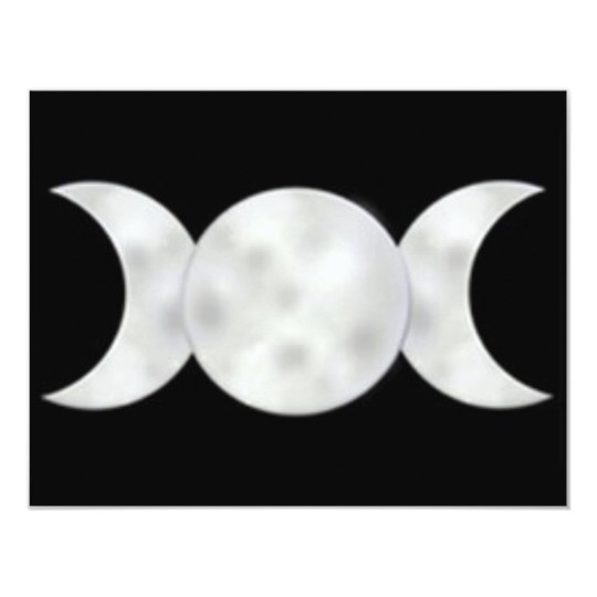 Triple Moon With Clouds Card