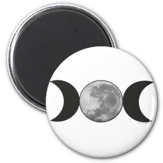 Triple Moon with Moon 2 Inch Round Magnet
