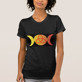 Triple moon with Triquetra on Black background T-Shirt
