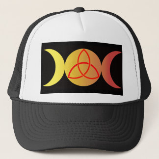 Triple moon with Triquetra on Black background Trucker Hat