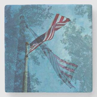 Triple Overlay American Flag Stone Coaster