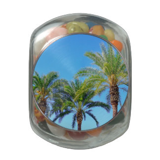 Triple Palm Glass Candy Jar
