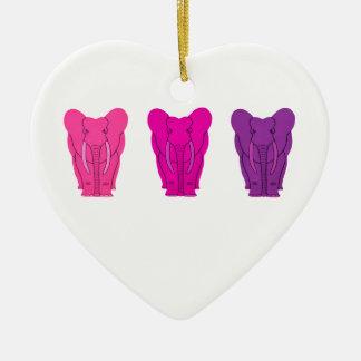Triple Pink Elephants Double-Sided Heart Ceramic Christmas Ornament