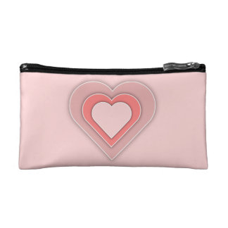 Triple Pink Hearts Cosmetic Bag