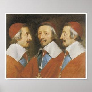 Triple Portrait of Cardinal Richelieu, 1642 Poster