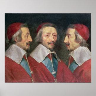 Triple Portrait of the Head of Richelieu, 1642 Poster
