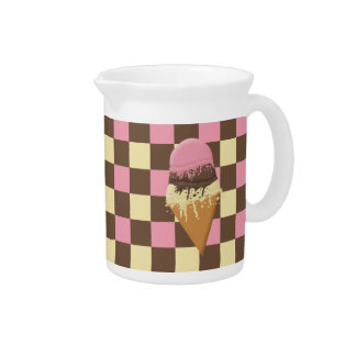 Triple-Scoop Ice Cream Cone Tri-color checkerboard Drink Pitcher