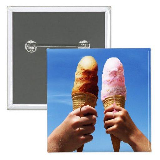 Triple Scoop Ice Cream Cones Button