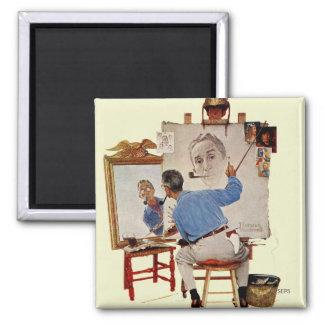 Triple Self-Portrait 2 Inch Square Magnet