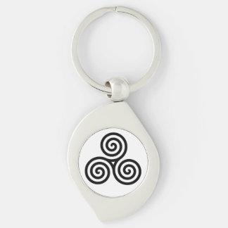 Triple spiral Black Silver-Colored Swirl Metal Keychain