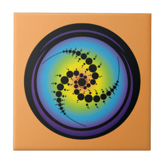Triple Spiral Crop Circle Ceramic Tile