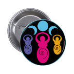 Triple Spiral Goddess 2 Inch Round Button