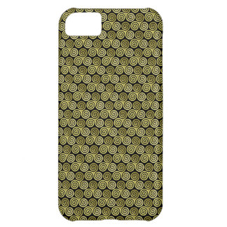 Triple spiral Gold black background Case For iPhone 5C